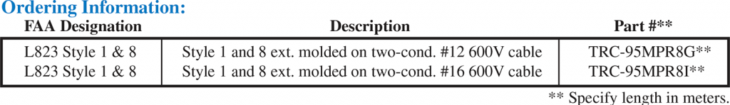Secondary Extension Cords L823 ordering codes