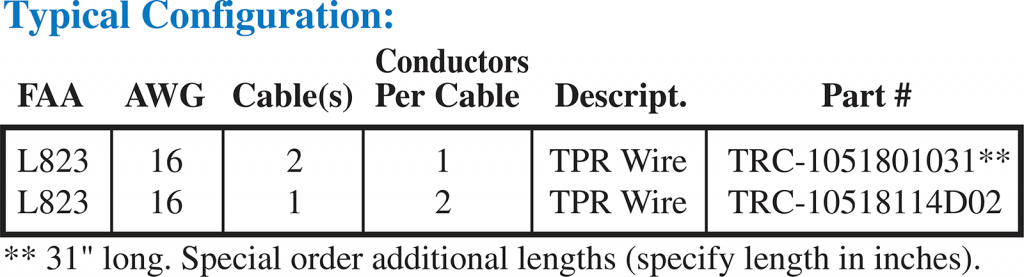 Secondary Cable Leads L823 ordering codes
