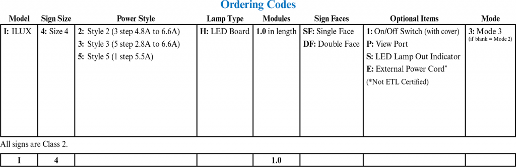I Lux LED Size 4 Signs ordering codes