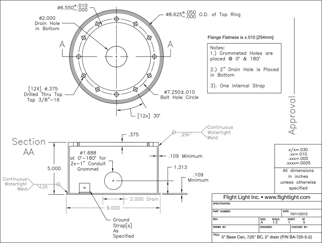 "5"" Base Can, 7.25"" BC, 2"" drain (P/N BA-725-5-2)"
