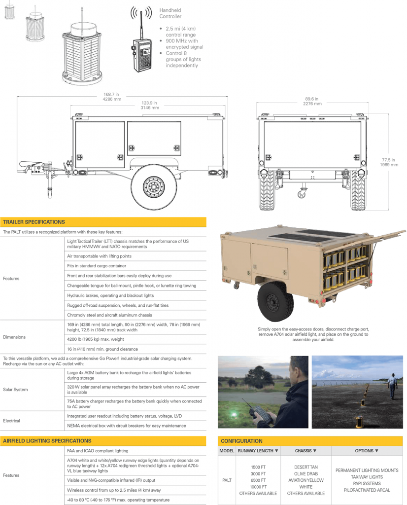 PALT Portable Airfield Lighting Trailer Specifications