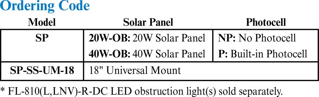 Obstruction Light Solar Power System ordering codes