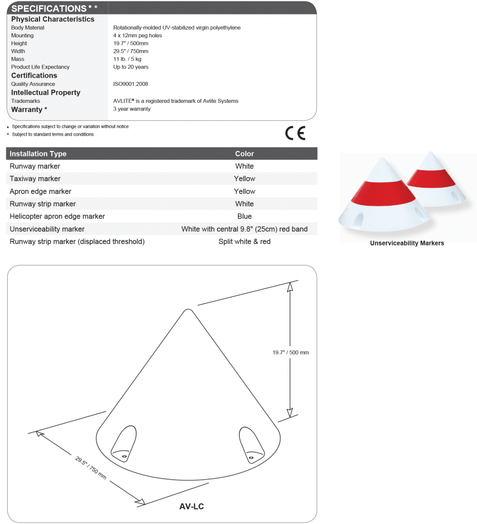 AV-LC Airfield Cone Marker specifications