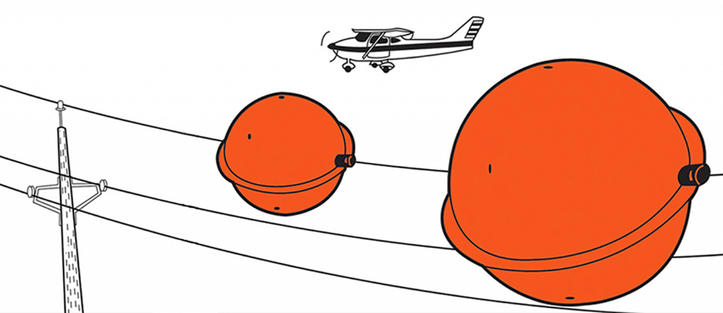 Aerial Marker Balls for Power Lines Model JX mounting example