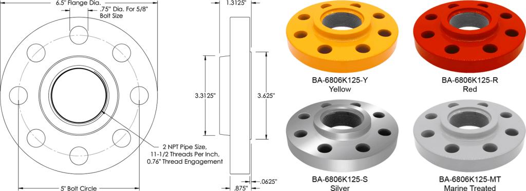 BA-6806K125 Rigid Floor Flange