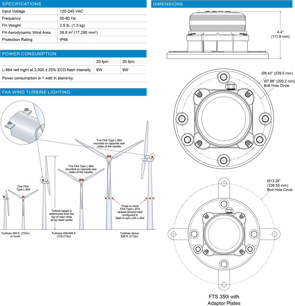 FTS 350i Wind Turbine Obstruction Light specifications