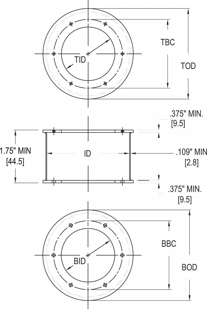 L-867 Class 1A Light Base Extension dimensions
