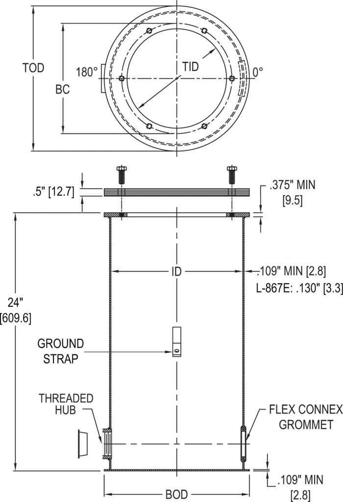 L-867 Class 1A Light Base dimensions
