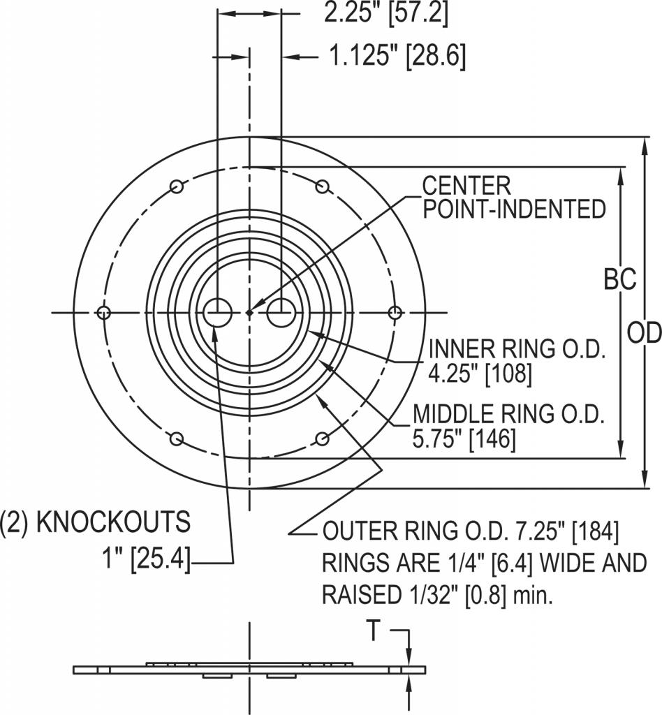 L-867 / L-868 Mud Plate dimensions