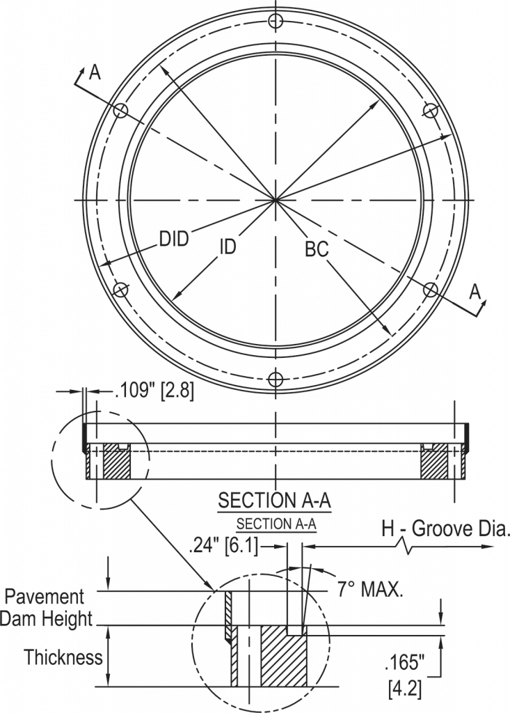 L-868 Class 1A Flange Ring with Pavement Dam dimensions