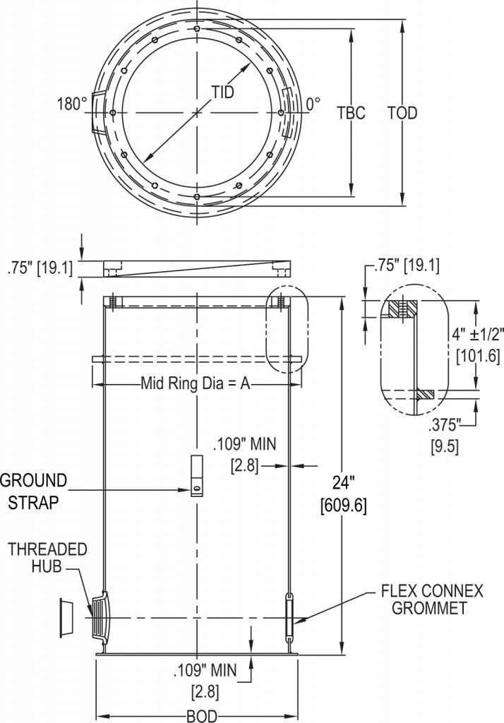 L-868 Class 1A Light Base dimensions