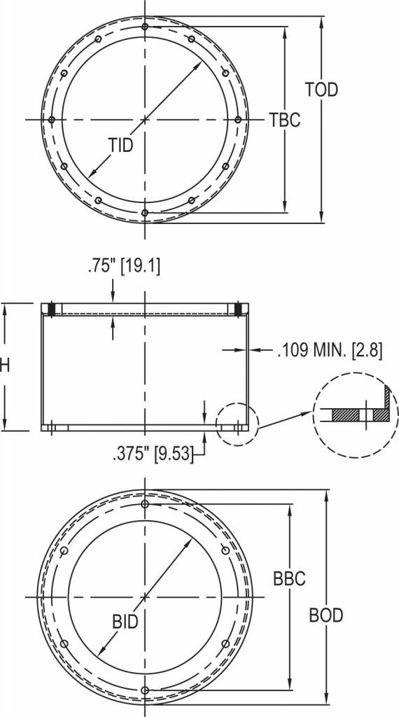 L-868 Class 1A Light Base Extension dimensions