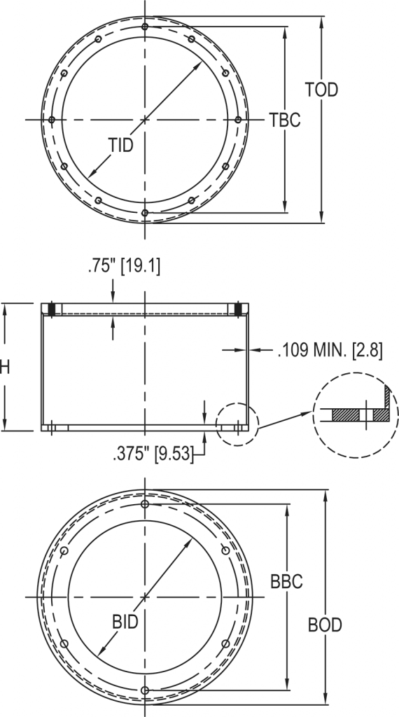 L-868 Class 1A Light Base Top Section dimensions