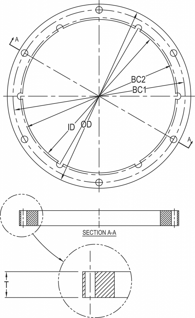 L-868 Class 1A Spacer Ring dimensions