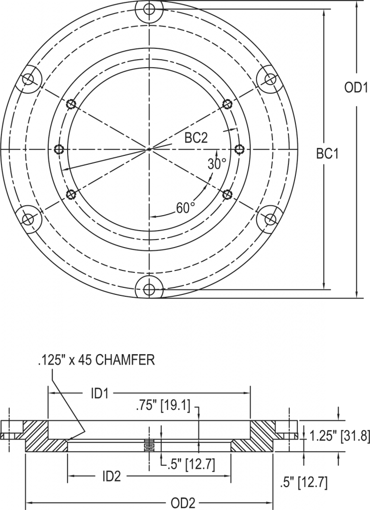 L-868B Adapter Ring for 8 Inch Inset Fixture dimensions