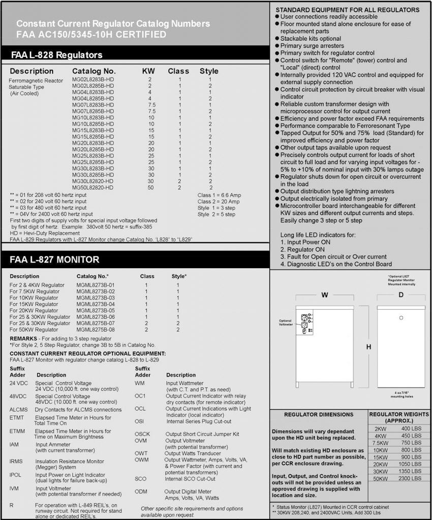 L-828/L-829 Hevi-Duty Replacement Constant Current Regulators specifications